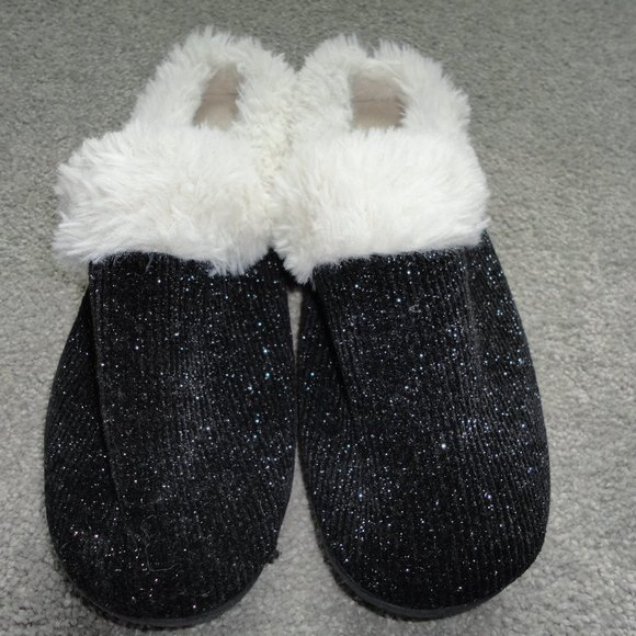 Isotoners Black with Silver Sparkles with Fuax Fur